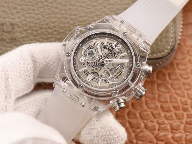 Đánh giá mẫu đồng hồ Hublot Unico Magic Sapphire trong suốt của OX Factory Replica với bộ chuyển động Asia HUB1242