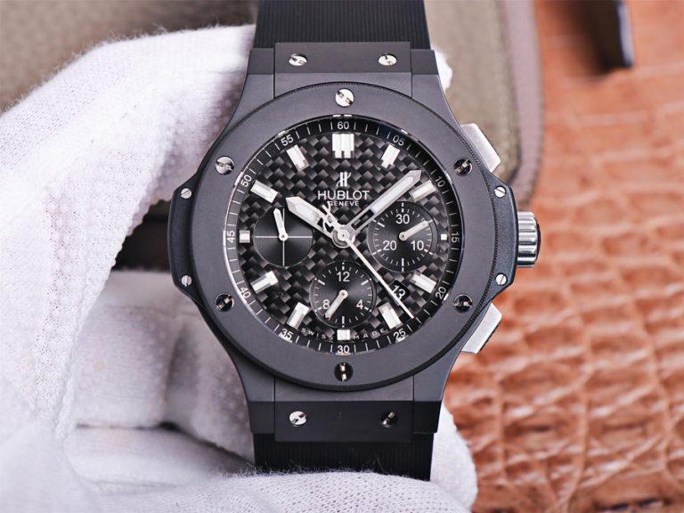 Đồng hồ Hublot Big Bang 44mm Ceramic Black Replica phiên bản cổ điển của Nhà máy với mặt số carbon