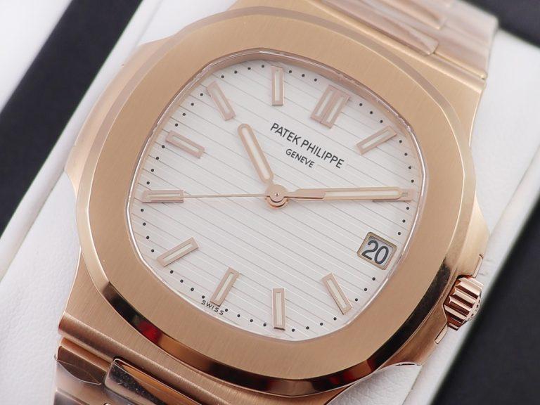 Review mẫu đồng hồ PP Factory Replica Patek Philippe Nautilus 5711R Rose Gold với mặt số màu trắng