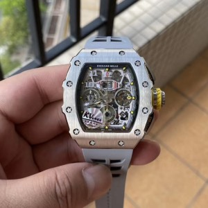 Richard Mille RM 011-03  Flyback Titanium on Grey Rubber replica 1-1 cao cấp